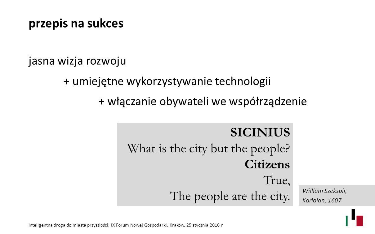 przepis na sukces jasna wizja rozwoju + umiejętne wykorzystywanie technologii + włączanie obywateli we współrządzenie Inteligentna droga do miasta przyszłości, IX Forum Nowej Gospodarki, Kraków, 25 stycznia 2016 r.