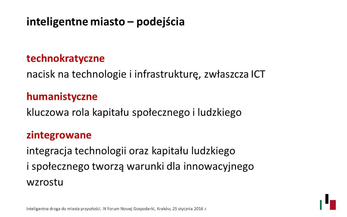 inteligentne miasto – podejścia technokratyczne nacisk na technologie i infrastrukturę, zwłaszcza ICT humanistyczne kluczowa rola kapitału społecznego i ludzkiego zintegrowane integracja technologii oraz kapitału ludzkiego i społecznego tworzą warunki dla innowacyjnego wzrostu Inteligentna droga do miasta przyszłości, IX Forum Nowej Gospodarki, Kraków, 25 stycznia 2016 r.