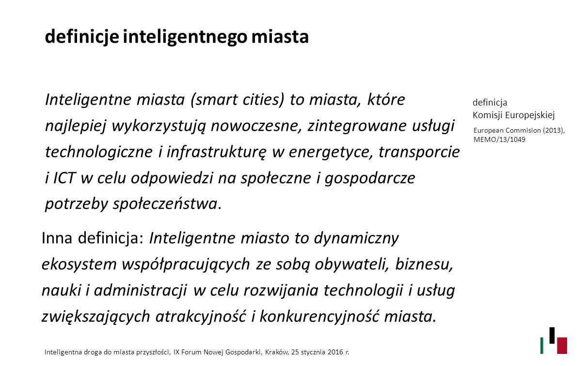 definicje inteligentnego miasta Inteligentne miasta (smart cities) to miasta, które najlepiej wykorzystują nowoczesne, zintegrowane usługi technologic