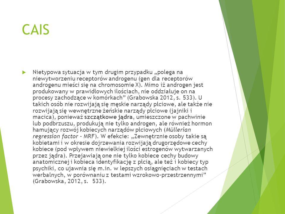 """CAIS  Nietypowa sytuacja w tym drugim przypadku """"polega na niewytworzeniu receptorów androgenu (gen dla receptorów androgenu mieści się na chromosomi"""