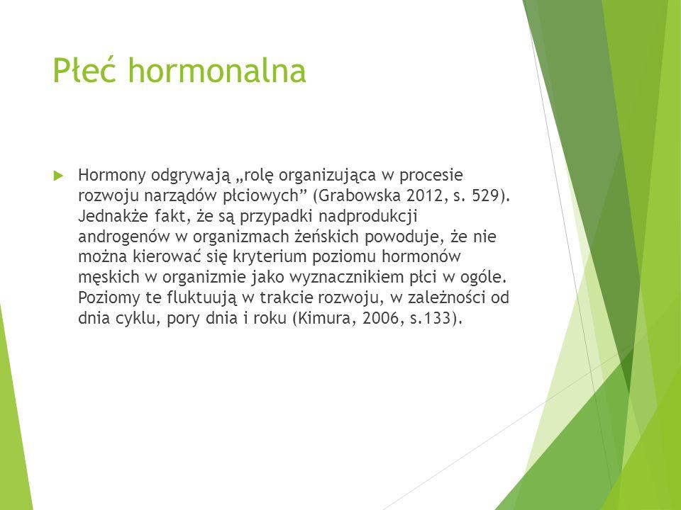 """Płeć hormonalna  Hormony odgrywają """"rolę organizująca w procesie rozwoju narządów płciowych"""" (Grabowska 2012, s. 529). Jednakże fakt, że są przypadki"""