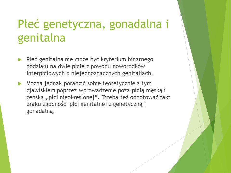 Płeć genetyczna, gonadalna i genitalna  Płeć genitalna nie może być kryterium binarnego podziału na dwie płcie z powodu noworodków interpłciowych o n