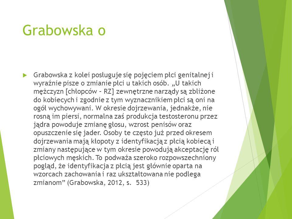 """Grabowska o  Grabowska z kolei posługuje się pojęciem płci genitalnej i wyraźnie pisze o zmianie płci u takich osób. """"U takich mężczyzn [chłopców – R"""