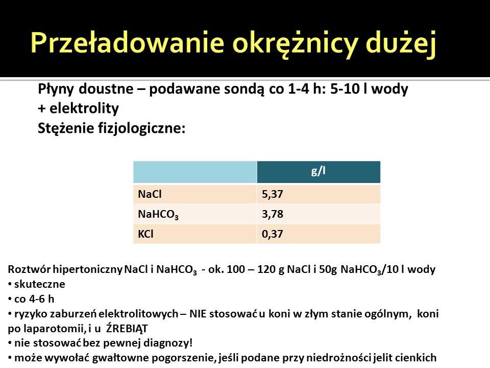 g/l NaCl5,37 NaHCO 3 3,78 KCl0,37 Płyny doustne – podawane sondą co 1-4 h: 5-10 l wody + elektrolity Stężenie fizjologiczne: Roztwór hipertoniczny NaCl i NaHCO 3 - ok.