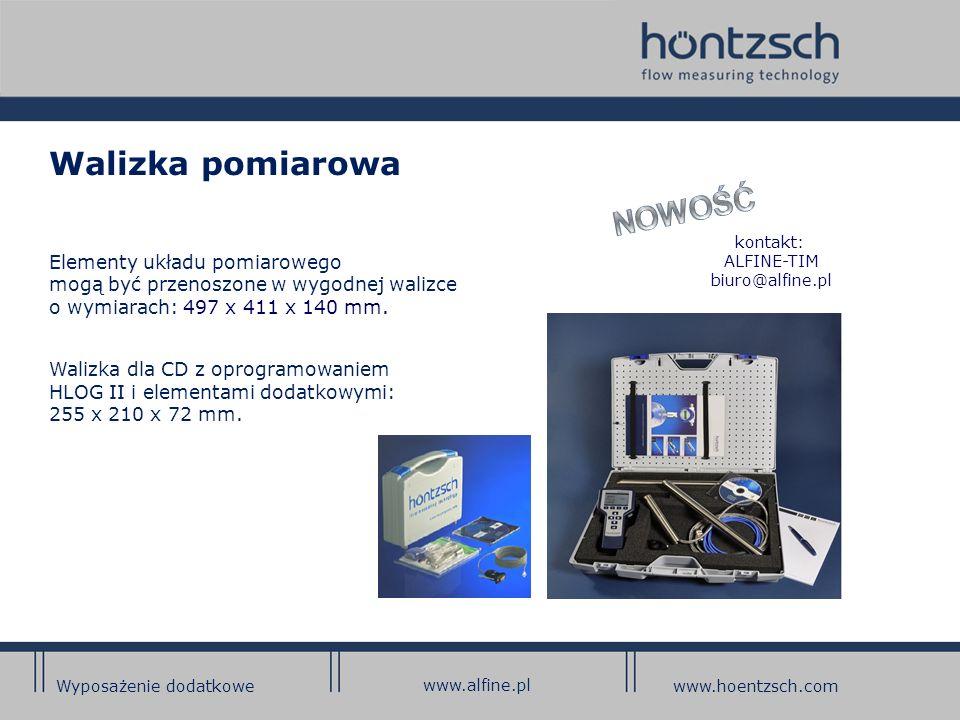Walizka pomiarowa Elementy układu pomiarowego mogą być przenoszone w wygodnej walizce o wymiarach: 497 x 411 x 140 mm.