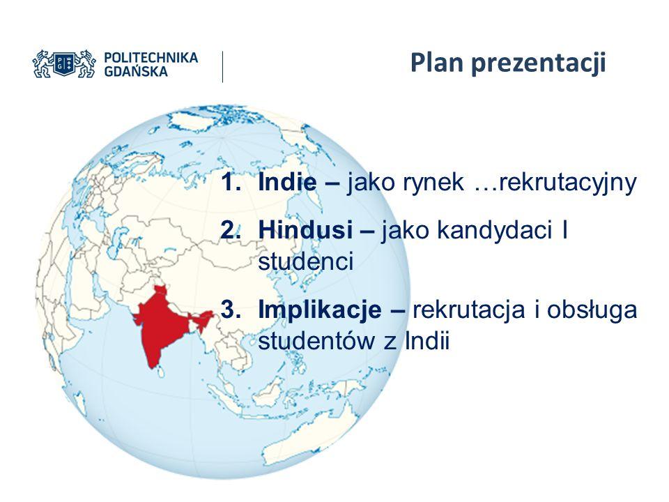 Plan prezentacji 1.Indie – jako rynek …rekrutacyjny 2.Hindusi – jako kandydaci I studenci 3.Implikacje – rekrutacja i obsługa studentów z Indii