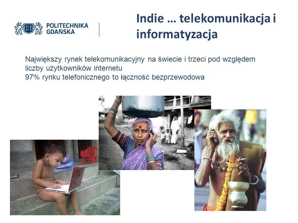 Indie … telekomunikacja i informatyzacja Największy rynek telekomunikacyjny na świecie i trzeci pod względem liczby użytkowników internetu 97% rynku t