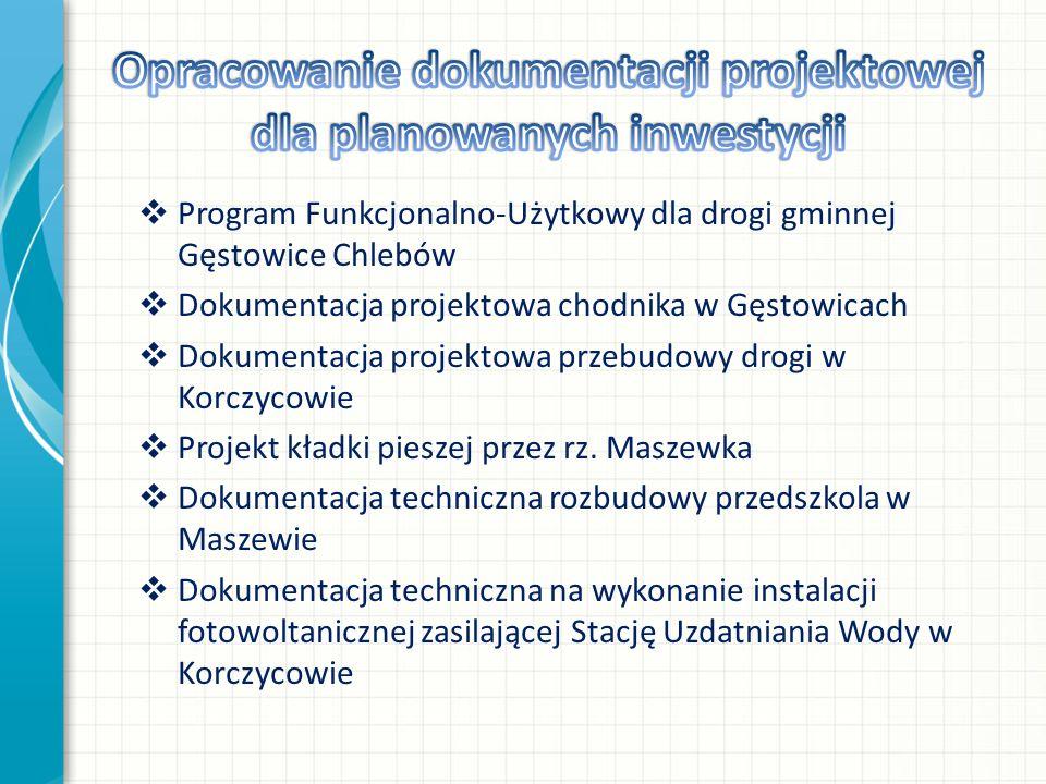  Program Funkcjonalno-Użytkowy dla drogi gminnej Gęstowice Chlebów  Dokumentacja projektowa chodnika w Gęstowicach  Dokumentacja projektowa przebudowy drogi w Korczycowie  Projekt kładki pieszej przez rz.