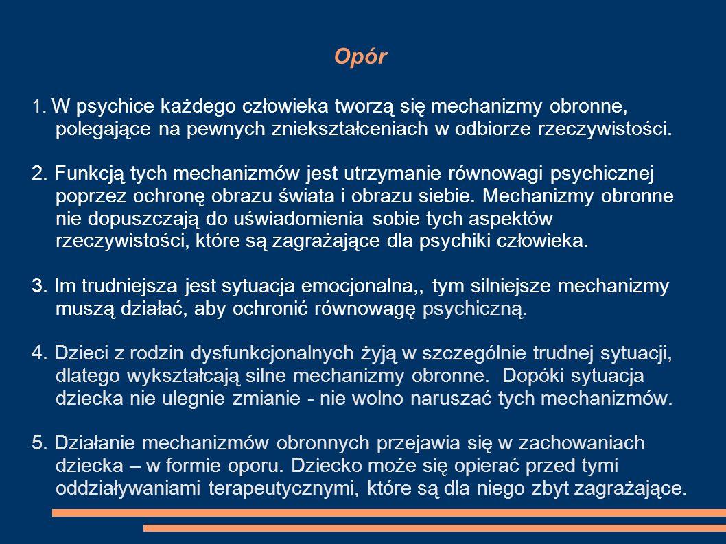 Opór 1. W psychice każdego człowieka tworzą się mechanizmy obronne, polegające na pewnych zniekształceniach w odbiorze rzeczywistości. 2. Funkcją tych