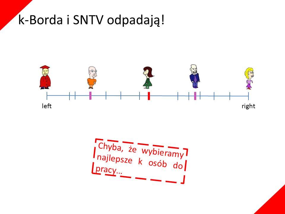 k-Borda i SNTV odpadają! leftright Chyba, że wybieramy najlepsze k osób do pracy…