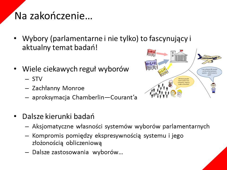 Na zakończenie… Wybory (parlamentarne i nie tylko) to fascynujący i aktualny temat badań! Wiele ciekawych reguł wyborów – STV – Zachłanny Monroe – apr