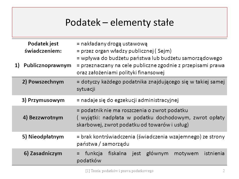 Podatek – elementy stałe Podatek jest świadczeniem: 1)Publicznoprawnym = nakładany drogą ustawową = przez organ władzy publicznej ( Sejm) = wpływa do budżetu państwa lub budżetu samorządowego = przeznaczany na cele publiczne zgodnie z przepisami prawa oraz założeniami polityki finansowej 2) Powszechnym= dotyczy każdego podatnika znajdującego się w takiej samej sytuacji 3) Przymusowym= nadaje się do egzekucji administracyjnej 4) Bezzwrotnym = podatnik nie ma roszczenia o zwrot podatku ( wyjątki: nadpłata w podatku dochodowym, zwrot opłaty skarbowej, zwrot podatku od towarów i usług) 5) Nieodpłatnym= brak kontrświadczenia (świadczenia wzajemnego) ze strony państwa / samorządu 6) Zasadniczym= funkcja fiskalna jest głównym motywem istnienia podatków [1] Teoria podatków i prawa podatkowego 2