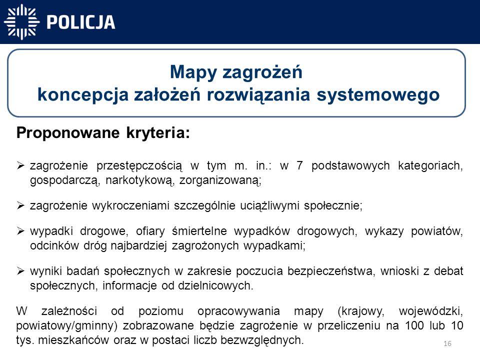 16 -40 831 -40 300-31 450 Mapy zagrożeń koncepcja założeń rozwiązania systemowego Proponowane kryteria:  zagrożenie przestępczością w tym m.