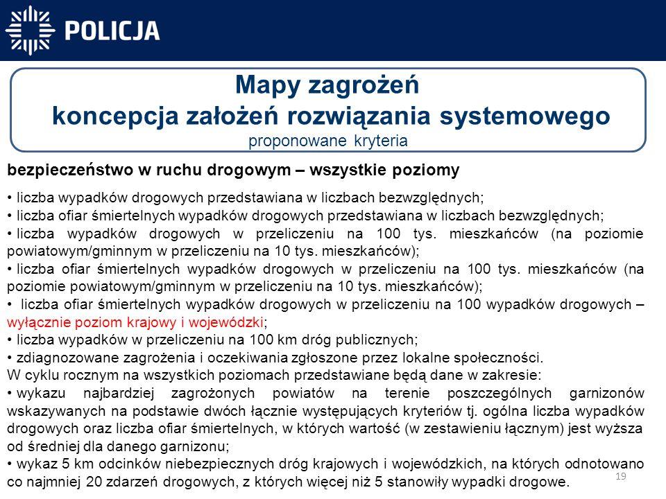 19 -40 300-31 450 Mapy zagrożeń koncepcja założeń rozwiązania systemowego proponowane kryteria bezpieczeństwo w ruchu drogowym – wszystkie poziomy liczba wypadków drogowych przedstawiana w liczbach bezwzględnych; liczba ofiar śmiertelnych wypadków drogowych przedstawiana w liczbach bezwzględnych; liczba wypadków drogowych w przeliczeniu na 100 tys.