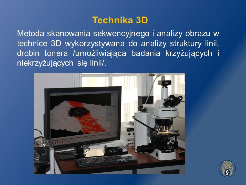 Metoda skanowania sekwencyjnego i analizy obrazu w technice 3D wykorzystywana do analizy struktury linii, drobin tonera /umożliwiająca badania krzyżujących i niekrzyżujących się linii/.