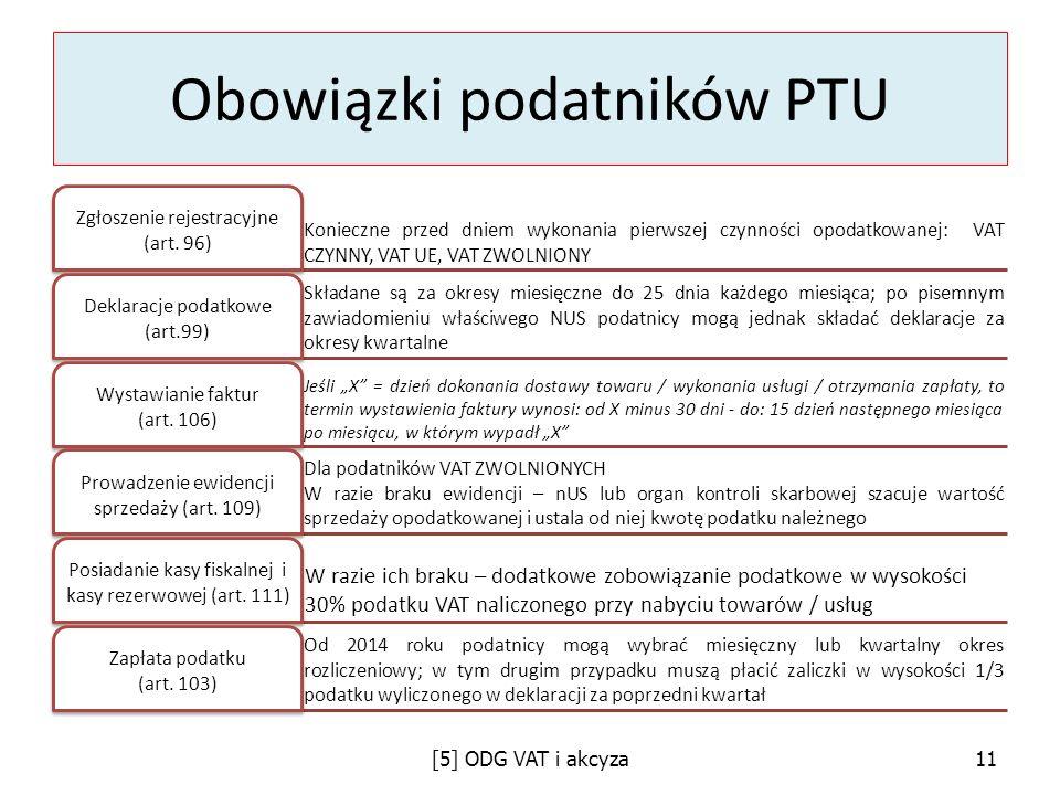 Obowiązki podatników PTU Konieczne przed dniem wykonania pierwszej czynności opodatkowanej: VAT CZYNNY, VAT UE, VAT ZWOLNIONY Zgłoszenie rejestracyjne