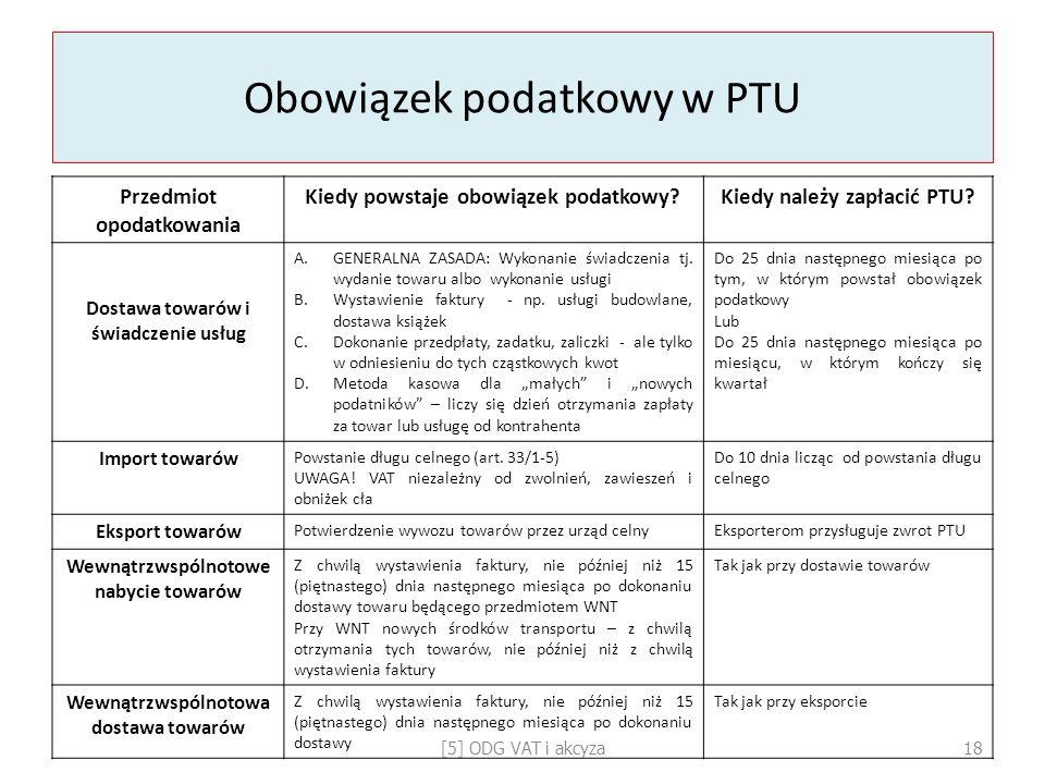 Obowiązek podatkowy w PTU Przedmiot opodatkowania Kiedy powstaje obowiązek podatkowy?Kiedy należy zapłacić PTU? Dostawa towarów i świadczenie usług A.