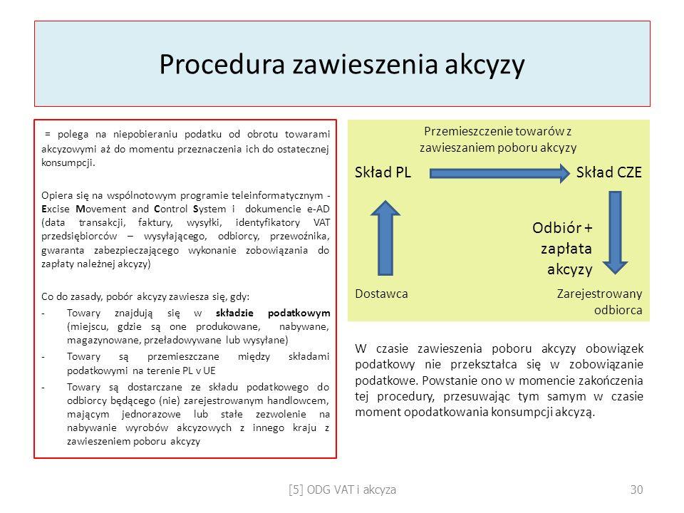 Procedura zawieszenia akcyzy = polega na niepobieraniu podatku od obrotu towarami akcyzowymi aż do momentu przeznaczenia ich do ostatecznej konsumpcji