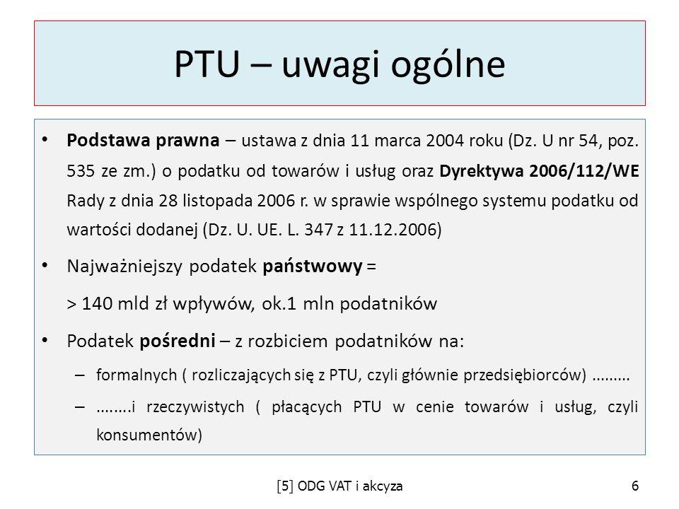 PTU – uwagi ogólne Podstawa prawna – ustawa z dnia 11 marca 2004 roku (Dz. U nr 54, poz. 535 ze zm.) o podatku od towarów i usług oraz Dyrektywa 2006/