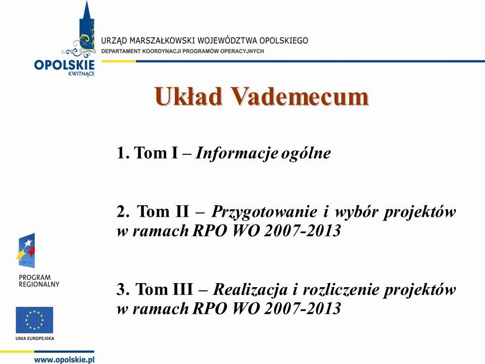 1. Tom I – Informacje ogólne 2. Tom II – Przygotowanie i wybór projektów w ramach RPO WO 2007-2013 3. Tom III – Realizacja i rozliczenie projektów w r