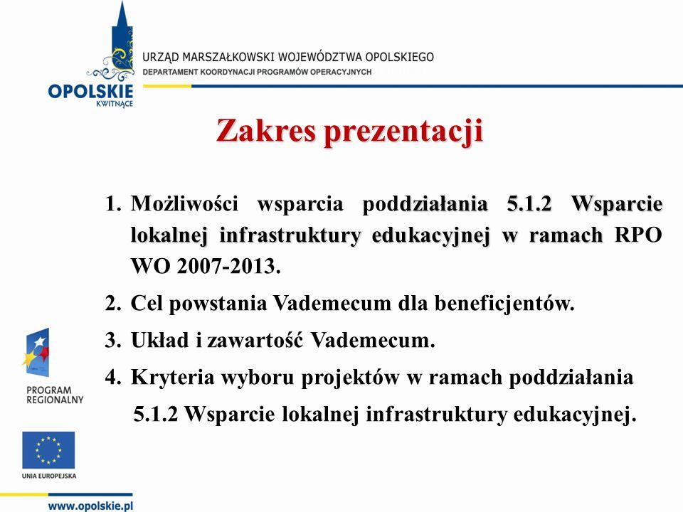 Zakres prezentacji działania 5.1.2 Wsparcie lokalnej infrastruktury edukacyjnej w ramach 1.Możliwości wsparcia poddziałania 5.1.2 Wsparcie lokalnej infrastruktury edukacyjnej w ramach RPO WO 2007-2013.