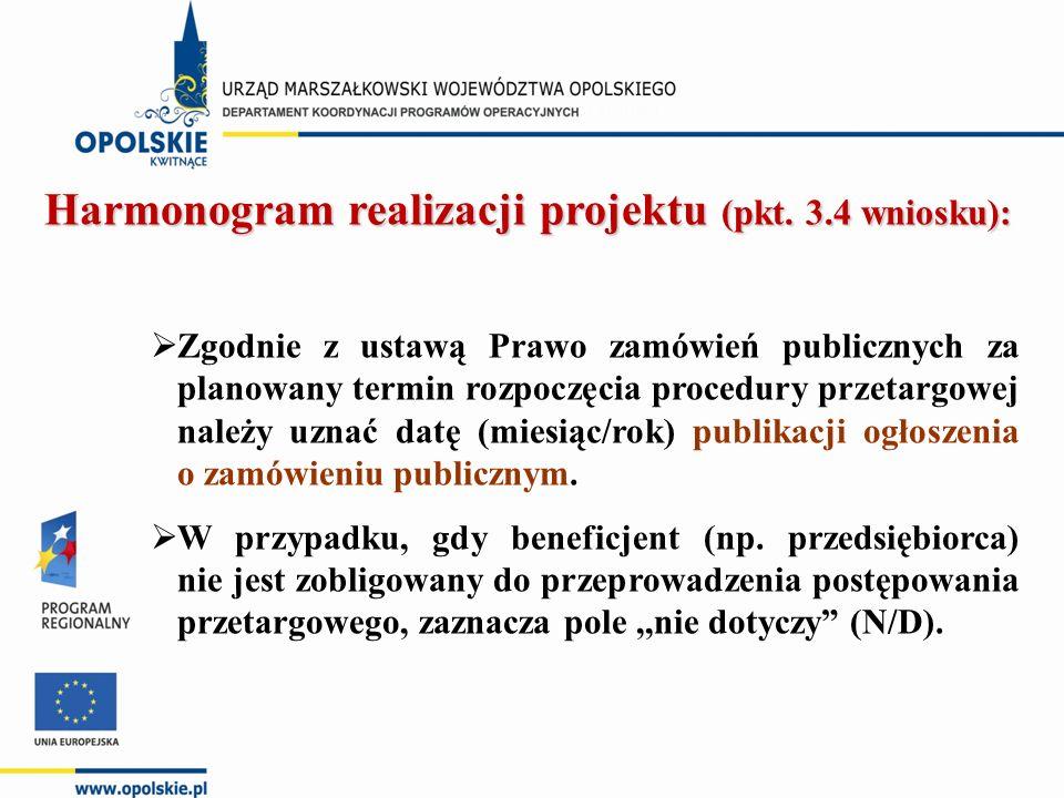 Harmonogram realizacji projektu (pkt. 3.4 wniosku):  Zgodnie z ustawą Prawo zamówień publicznych za planowany termin rozpoczęcia procedury przetargow