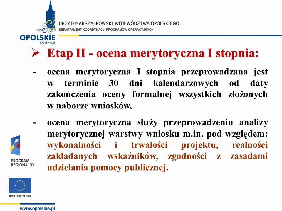  Etap II - ocena merytoryczna I stopnia: - ocena merytoryczna I stopnia przeprowadzana jest w terminie 30 dni kalendarzowych od daty zakończenia oceny formalnej wszystkich złożonych w naborze wniosków, - ocena merytoryczna służy przeprowadzeniu analizy merytorycznej warstwy wniosku m.in.