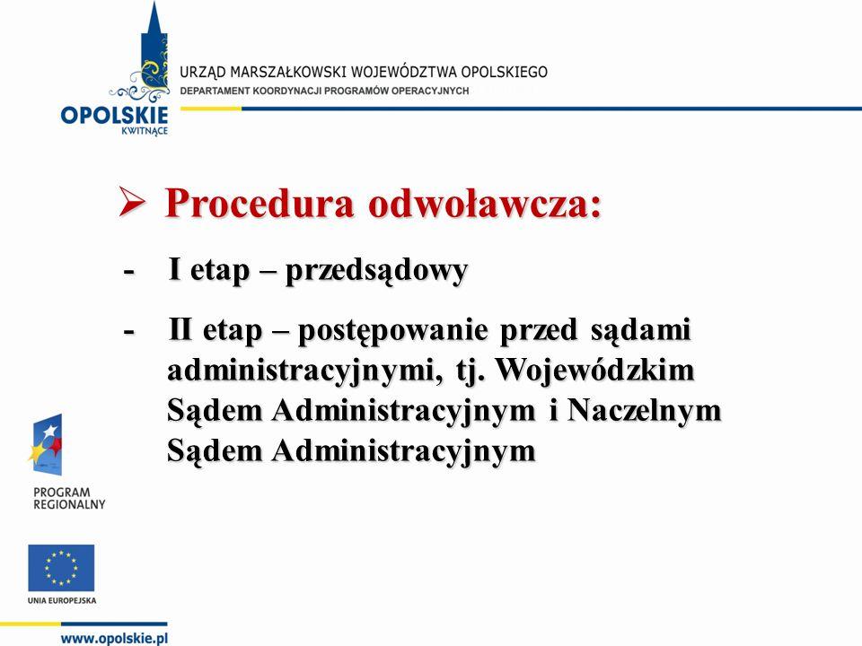  Procedura odwoławcza: - I etap – przedsądowy - I etap – przedsądowy - II etap – postępowanie przed sądami administracyjnymi, tj.