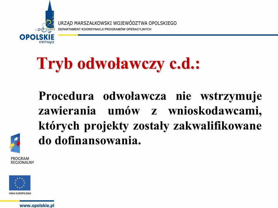 Tryb odwoławczy c.d.: Tryb odwoławczy c.d.: Procedura odwoławcza nie wstrzymuje zawierania umów z wnioskodawcami, których projekty zostały zakwalifikowane do dofinansowania.