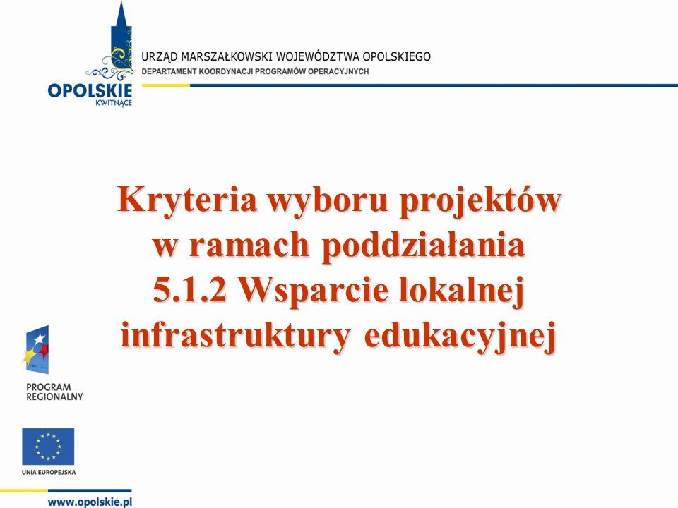 Kryteria wyboru projektów w ramach poddziałania 5.1.2 Wsparcie lokalnej infrastruktury edukacyjnej