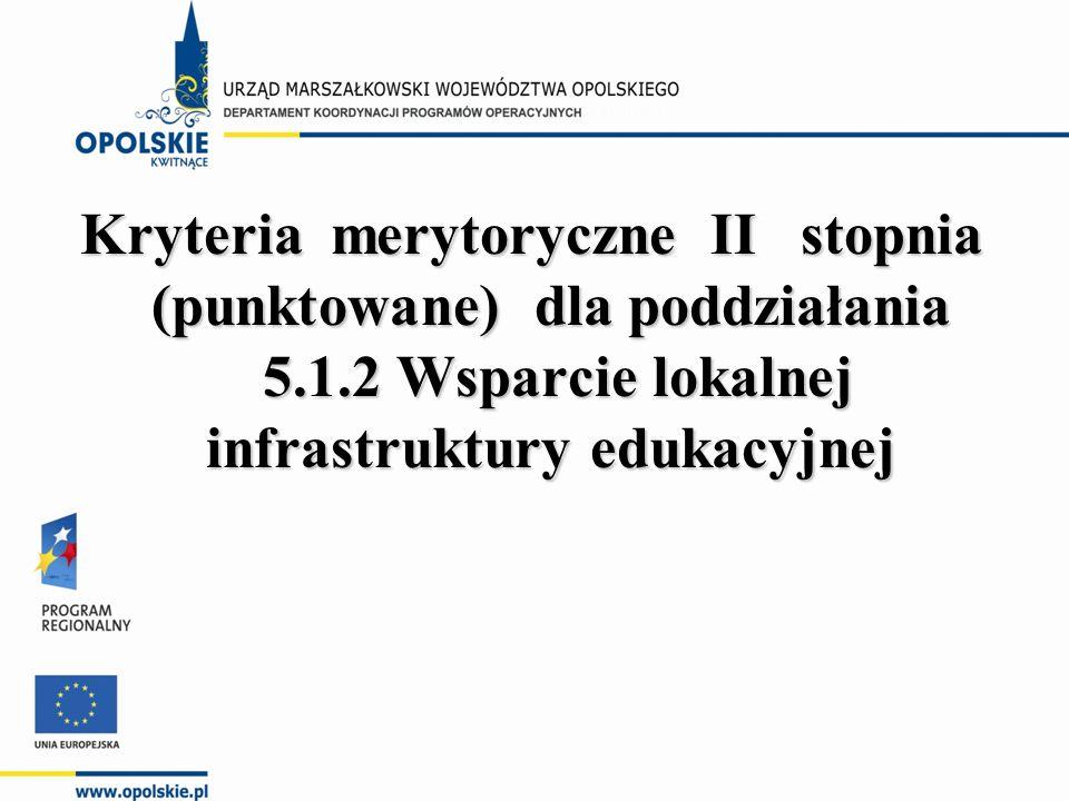 Kryteria merytoryczne II stopnia (punktowane) dla poddziałania 5.1.2 Wsparcie lokalnej infrastruktury edukacyjnej