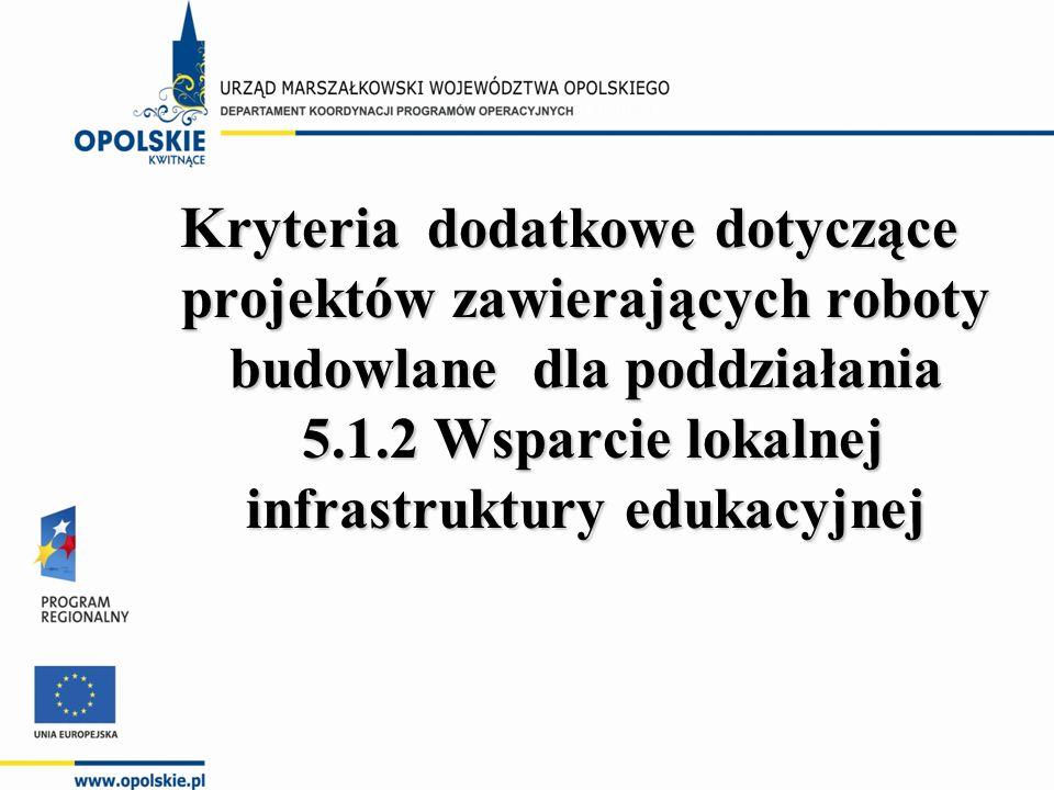 Kryteria dodatkowe dotyczące projektów zawierających roboty budowlane dla poddziałania 5.1.2 Wsparcie lokalnej infrastruktury edukacyjnej