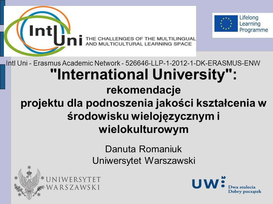 Prezentacja nowego produktu International University : rekomendacje projektu dla podnoszenia jakości kształcenia w środowisku wielojęzycznym i wielokulturowym Danuta Romaniuk Uniwersytet Warszawski Intl Uni - Erasmus Academic Network - 526646-LLP-1-2012-1-DK-ERASMUS-ENW