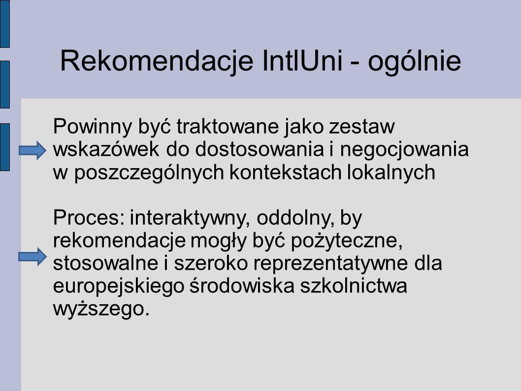 Rekomendacje IntlUni - ogólnie Powinny być traktowane jako zestaw wskazówek do dostosowania i negocjowania w poszczególnych kontekstach lokalnych Proces: interaktywny, oddolny, by rekomendacje mogły być pożyteczne, stosowalne i szeroko reprezentatywne dla europejskiego środowiska szkolnictwa wyższego.