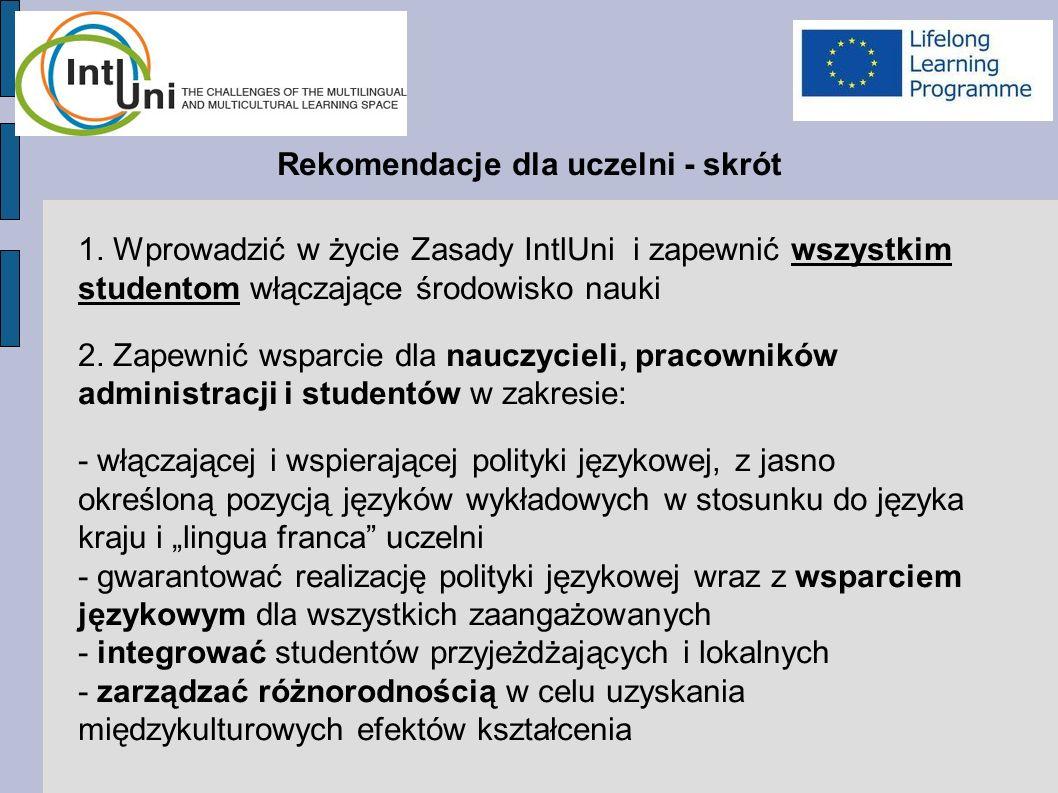 Rekomendacje dla uczelni - skrót 1.
