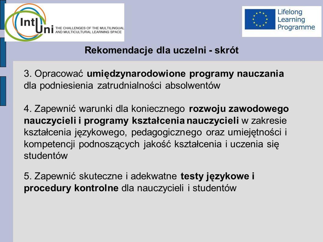 Rekomendacje dla uczelni - skrót 3.
