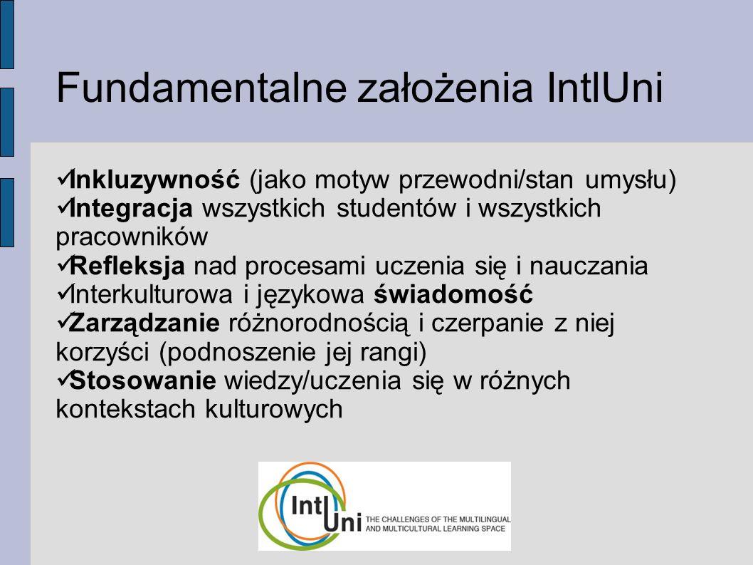 Fundamentalne założenia IntlUni Inkluzywność (jako motyw przewodni/stan umysłu) Integracja wszystkich studentów i wszystkich pracowników Refleksja nad procesami uczenia się i nauczania Interkulturowa i językowa świadomość Zarządzanie różnorodnością i czerpanie z niej korzyści (podnoszenie jej rangi) Stosowanie wiedzy/uczenia się w różnych kontekstach kulturowych