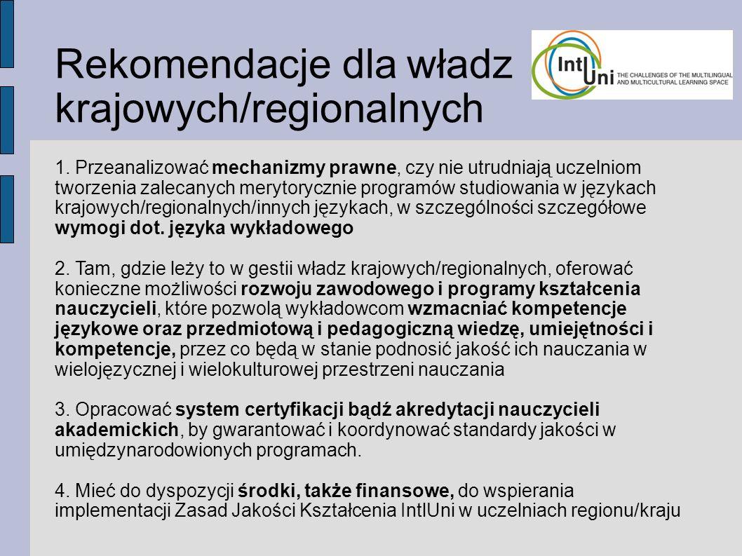 Rekomendacje dla władz krajowych/regionalnych 1.