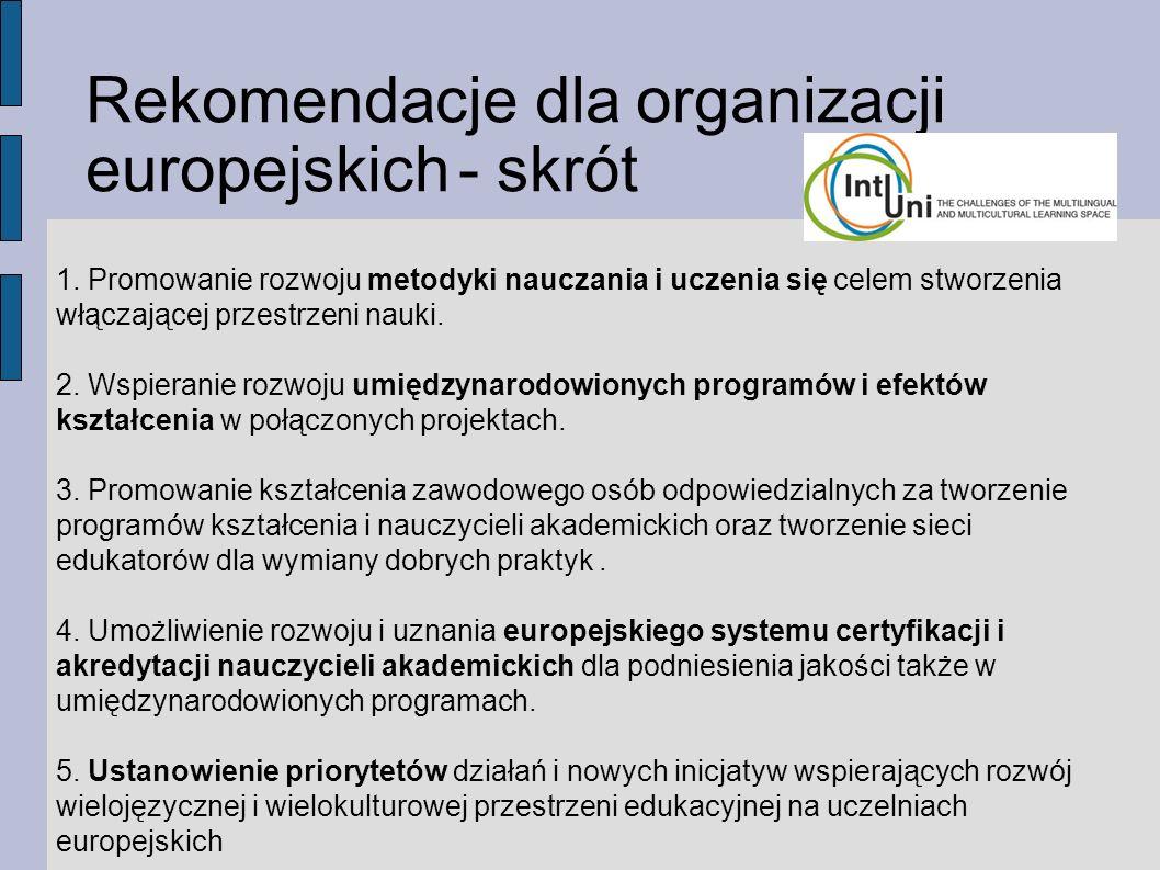 Rekomendacje dla organizacji europejskich - skrót 1.