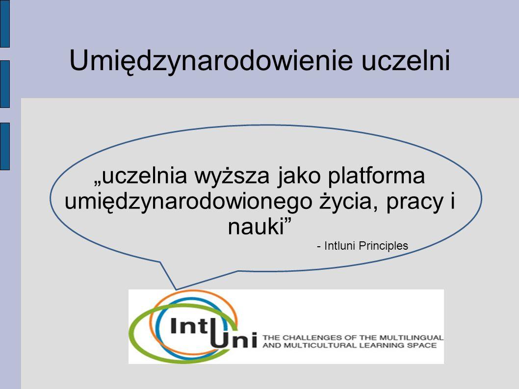 """Umiędzynarodowienie uczelni """"uczelnia wyższa jako platforma umiędzynarodowionego życia, pracy i nauki - Intluni Principles"""