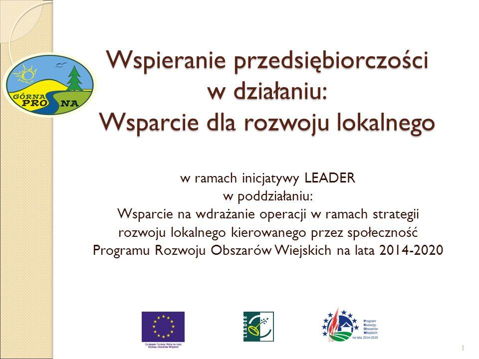 Wspieranie przedsiębiorczości w działaniu: Wsparcie dla rozwoju lokalnego w ramach inicjatywy LEADER w poddziałaniu: Wsparcie na wdrażanie operacji w ramach strategii rozwoju lokalnego kierowanego przez społeczność Programu Rozwoju Obszarów Wiejskich na lata 2014-2020 1