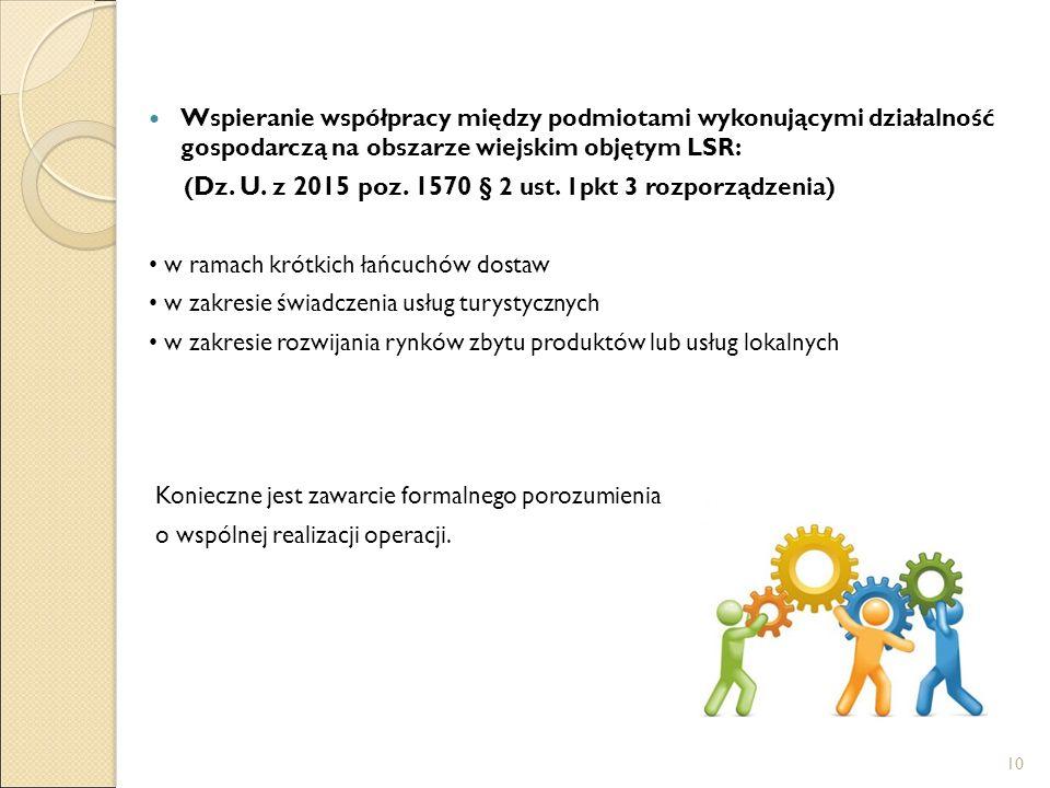 Wspieranie współpracy między podmiotami wykonującymi działalność gospodarczą na obszarze wiejskim objętym LSR: ( Dz.