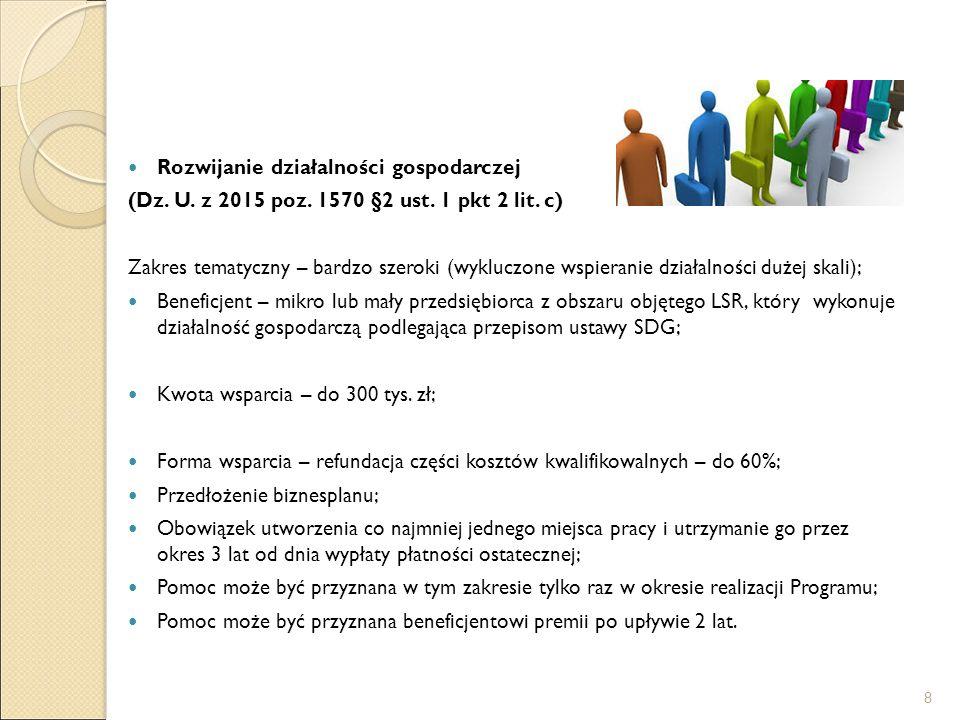 Rozwijanie działalności gospodarczej (Dz. U. z 2015 poz. 1570 §2 ust. 1 pkt 2 lit. c) Zakres tematyczny – bardzo szeroki (wykluczone wspieranie działa
