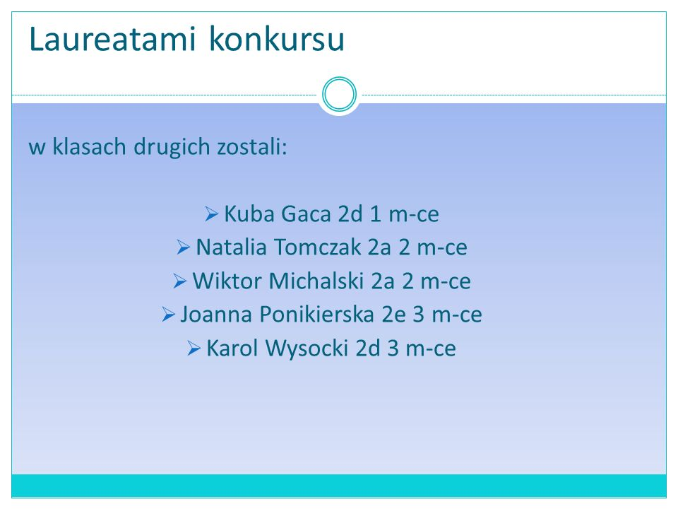 Laureatami konkursu w klasach drugich zostali:  Kuba Gaca 2d 1 m-ce  Natalia Tomczak 2a 2 m-ce  Wiktor Michalski 2a 2 m-ce  Joanna Ponikierska 2e