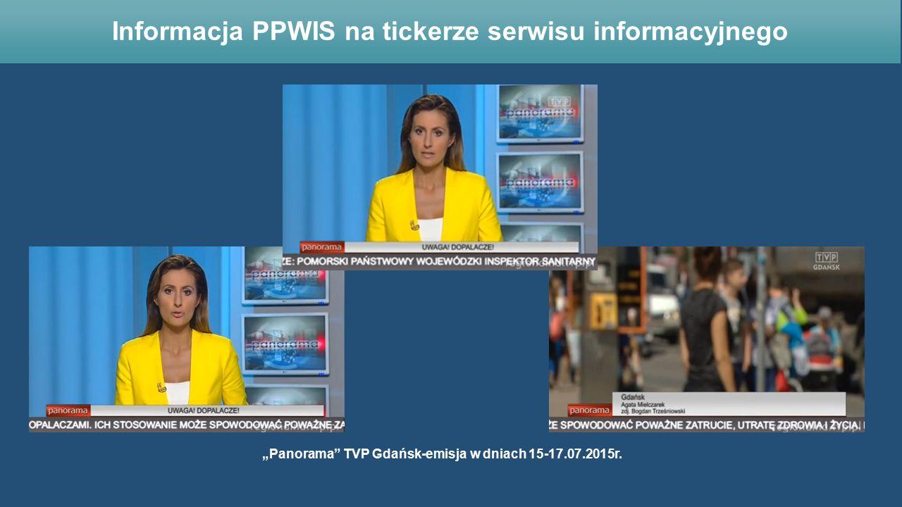 """""""Panorama"""" TVP Gdańsk-emisja w dniach 15-17.07.2015r. Informacja PPWIS na tickerze serwisu informacyjnego"""