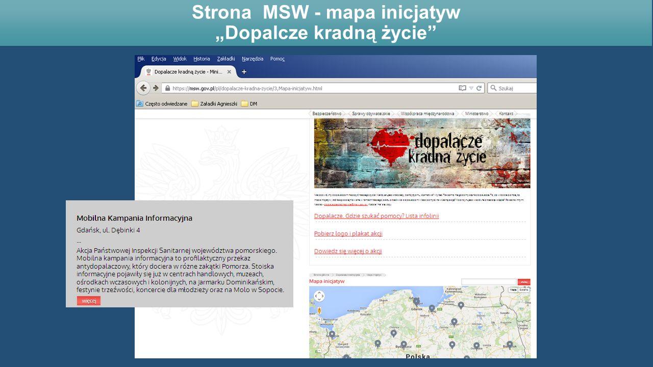 """Strona MSW - mapa inicjatyw """"Dopalcze kradną życie"""""""