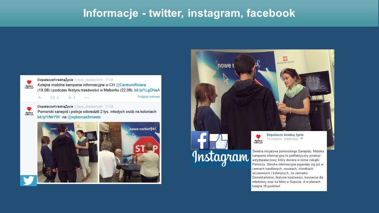 Informacje - twitter, instagram, facebook