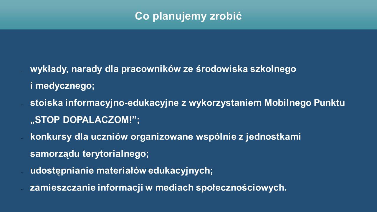 """- wykłady, narady dla pracowników ze środowiska szkolnego i medycznego; - stoiska informacyjno-edukacyjne z wykorzystaniem Mobilnego Punktu """"STOP DOPA"""