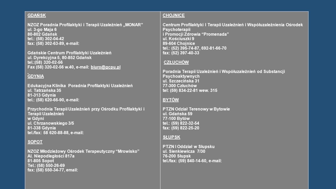 """GDAŃSK NZOZ Poradnia Profilaktyki i Terapii Uzależnień """"MONAR"""" ul. 3-go Maja 6 80-802 Gdańsk tel.: (58) 302-04-42 fax: (58) 302-63-89, e-mail: Gdański"""