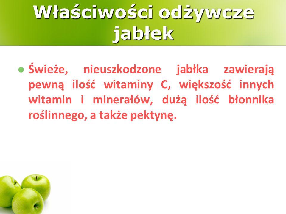 Właściwości odżywcze jabłek Świeże, nieuszkodzone jabłka zawierają pewną ilość witaminy C, większość innych witamin i minerałów, dużą ilość błonnika roślinnego, a także pektynę.